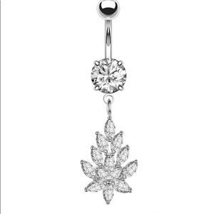 1PC Steel Crystal Belly Ring